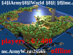 Статус ArmyWorld | mc.ArmyW.ru                                   NoDupe, Marry, Clans, Casino, Drinks, Top kills